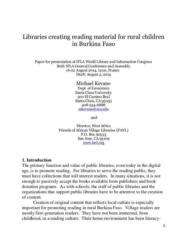0 Libraries creating reading material for rural children in Burkina Faso Paper for presentation at IFLA World Library and ...