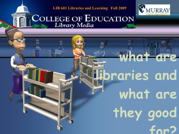 what are libraries and what are they good for? LIB 601 Libraries and Learning  Fall 2009