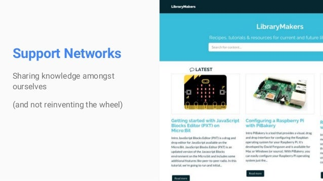 Support Networks Sharing knowledge amongst ourselves (and not reinventing the wheel)
