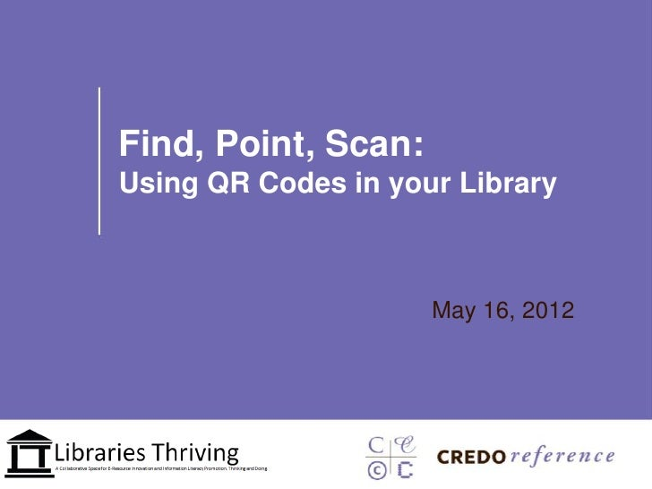 Find, Point, Scan:Using QR Codes in your Library                     May 16, 2012