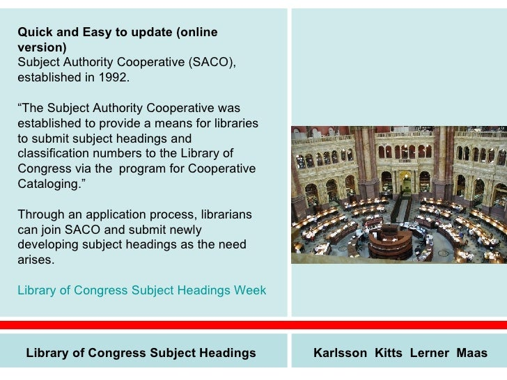 library of congress subject headings manual