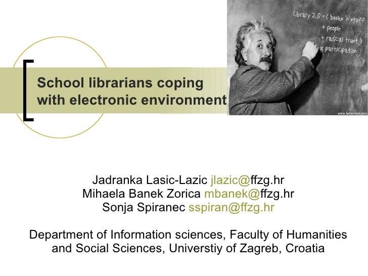 Jadranka Lasic-Lazic  jlazic @ ffzg.hr Mihaela Banek Zorica  mbanek @ ffzg.hr Sonja Spiranec  [email_address] Department o...