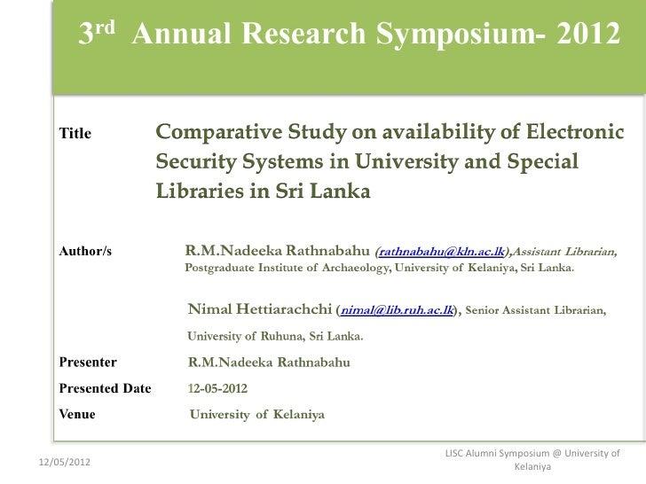 LISC Alumni Symposium @ University of12/05/2012                  Kelaniya