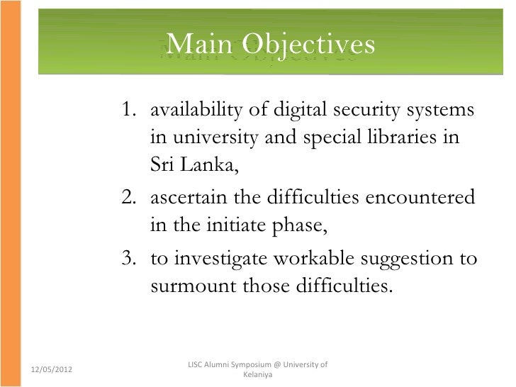 objectives of computerized library system The first description of a computer searching for information for medline at the national library of medicine the cite system supported.