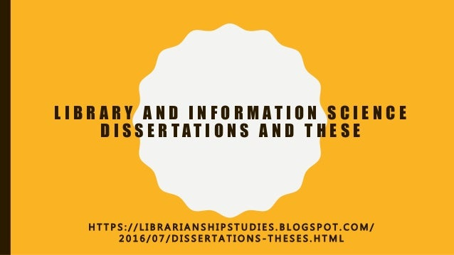 Dissertation library science
