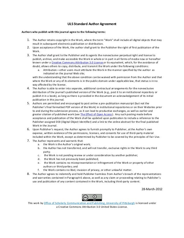 Library As Publisher Handout 7 Standard Author Agreementcc By