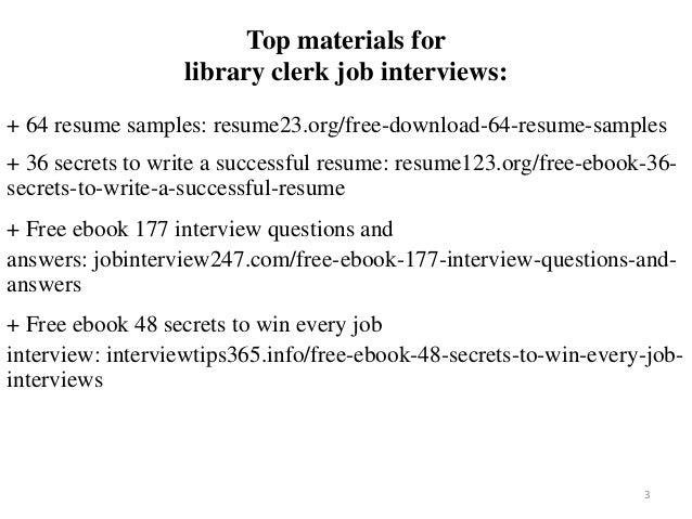 sample library clerk resumes