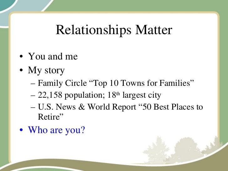 "Relationships Matter <ul><li>You and me </li></ul><ul><li>My story </li></ul><ul><ul><li>Family Circle ""Top 10 Towns for F..."