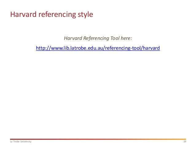 Latrobe referencing tool harvard