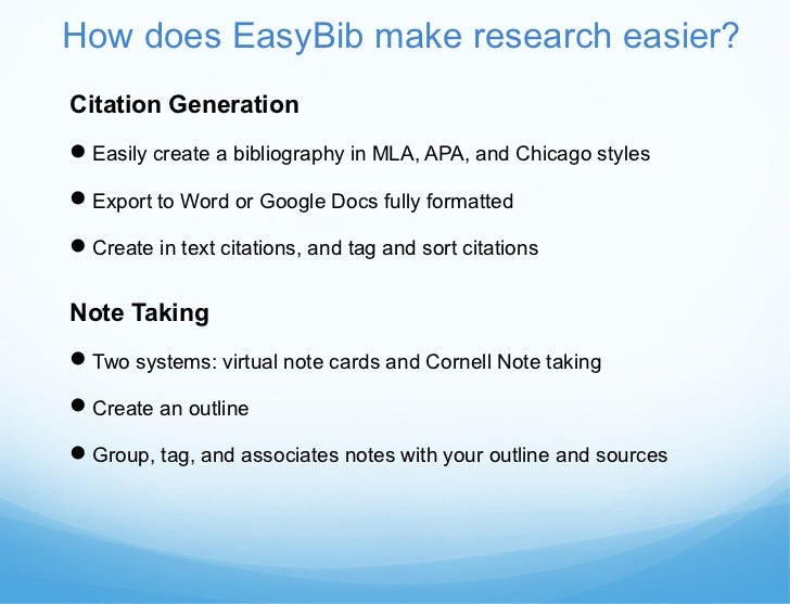 Easybib Library Edition Student Instructional Presentation