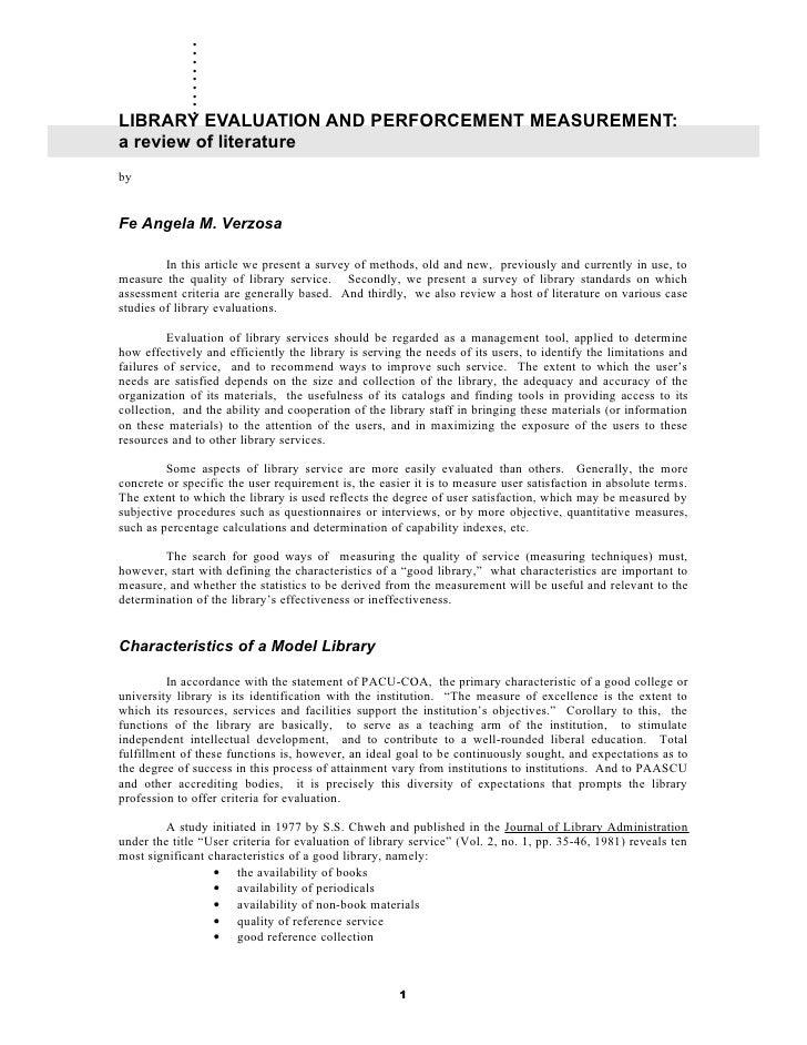 library evaluation and performance measurement review of literature library evaluation and perforcement measurement a