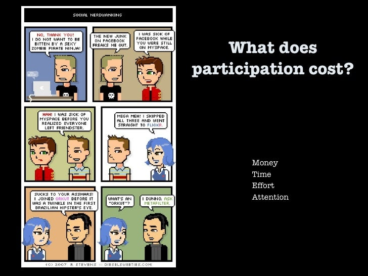 What does participation cost?  Money Time Effort Attention