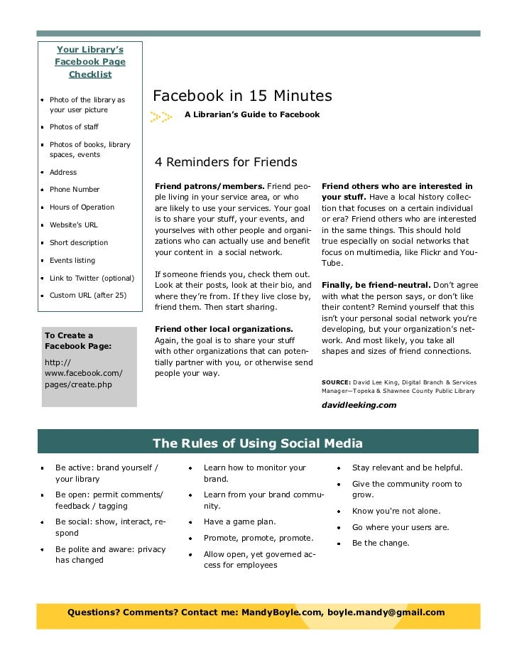 Your Library's  Facebook Page     Checklist Photo of the library as      Facebook in 15 Minutes your user picture         ...