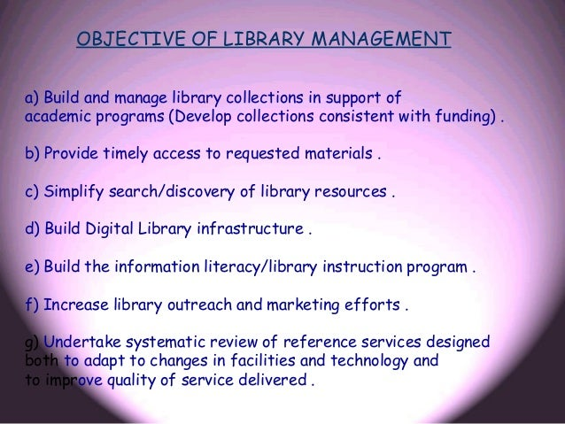 library management thesis Library management is available as part of an online subscription to the emerald library studies ejournals collection for more information, please email collections@.