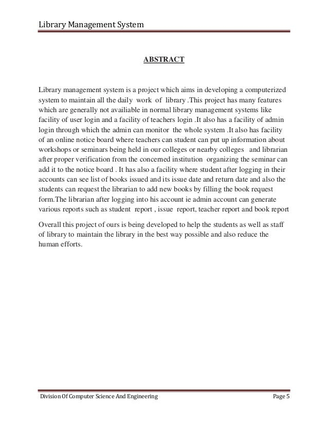 abstract for library management system