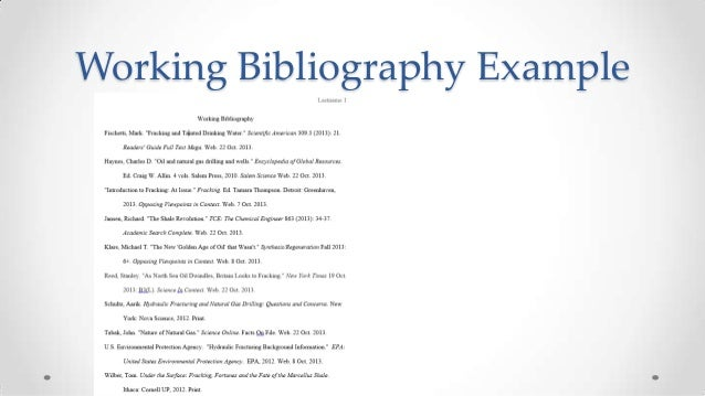 working bibliography mla