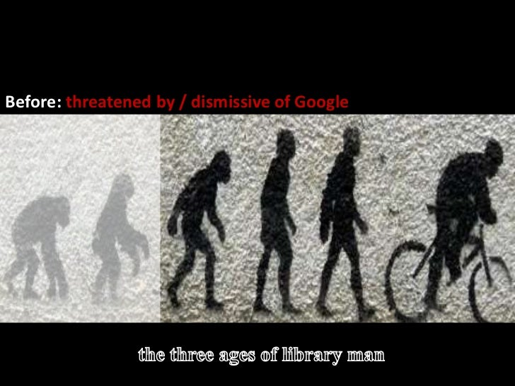 The evolution of library man<br />Before: Threatened by / dismissive of Google >>>>><br />Before: threatened by / dismissi...