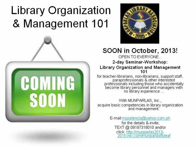 Library organization & management 101