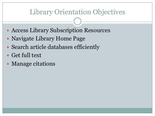 Library orientation vsb fellows Slide 2