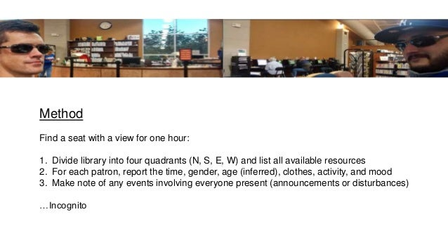Method Find a seat with a view for one hour: 1. Divide library into four quadrants (N, S, E, W) and list all available res...