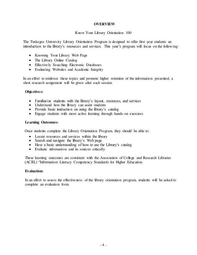 Library Orientation Handbook – Orientation Evaluation Form