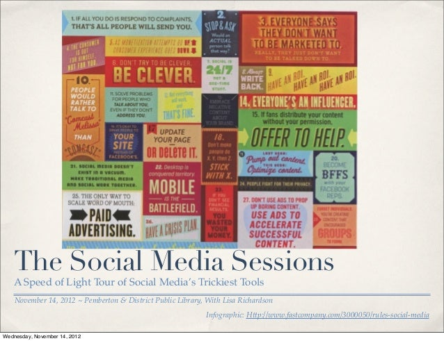 The Social Media Sessions   A Speed of Light Tour of Social Media's Trickiest Tools    November 14, 2012 ~ Pemberton & Dis...