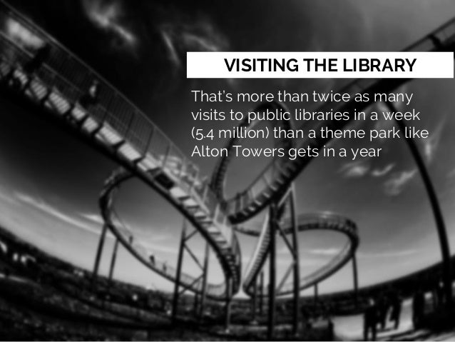 VISITING THE LIBRARY That's more than twice as many visits to public libraries in a week (5.4 million) than a theme park l...