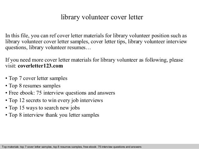 Library volunteer cover letter for How to write a cover letter for volunteering