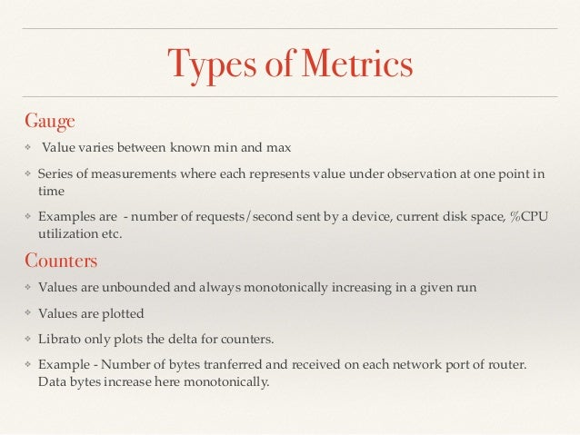Types of Metrics Gauge ❖ Value varies between known min and max ❖ Series of measurements where each represents value under...