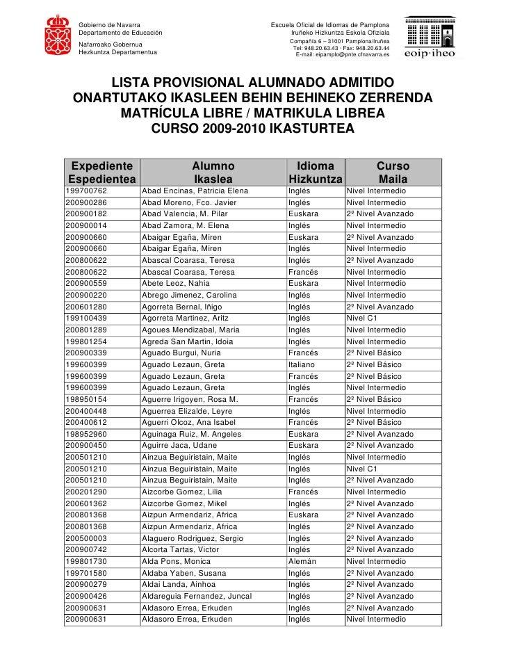 Lista provisional alumnado admitido eoip - Escuela oficial de idiomas inca ...