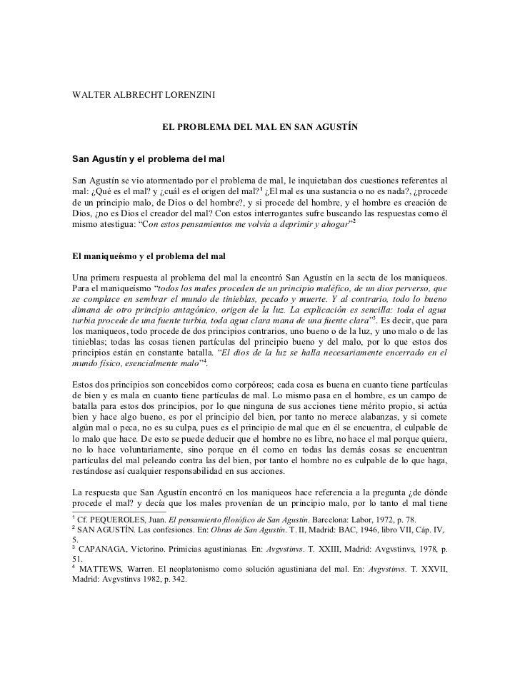 WALTER ALBRECHT LORENZINI                        EL PROBLEMA DEL MAL EN SAN AGUSTÍNSan Agustín y el problema del malSan Ag...