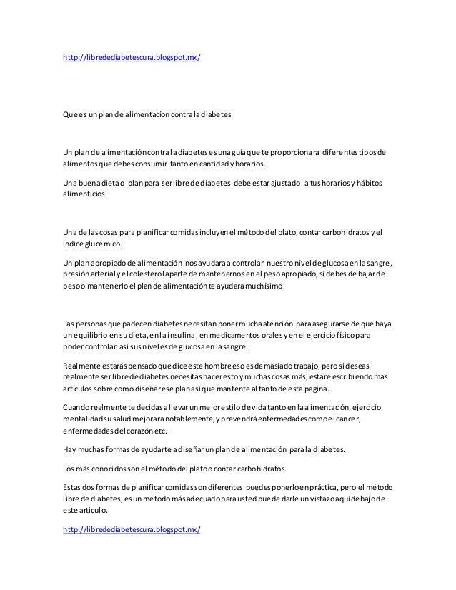 Libre de diabetes plan de alimentaci n contra la diabetes - Alimentos contra diabetes ...