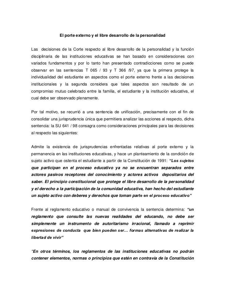 El porte externo y el libre desarrollo de la personalidadLas decisiones de la Corte respecto al libre desarrollo de la per...