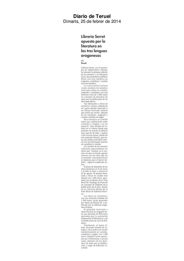 Diario de Teruel Dimarts, 25 de febrer de 2014