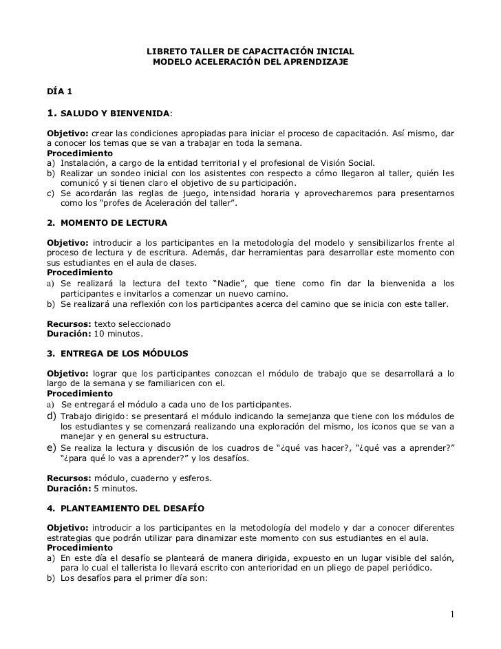 LIBRETO TALLER DE CAPACITACIÓN INICIAL                         MODELO ACELERACIÓN DEL APRENDIZAJEDÍA 11. SALUDO Y BIENVENI...