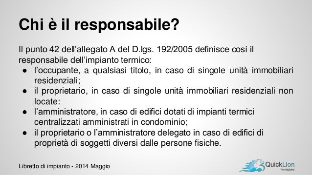 Libretto di impianto dpr 74 2013 v 3 - Se monto pneumatici diversi dal libretto ...