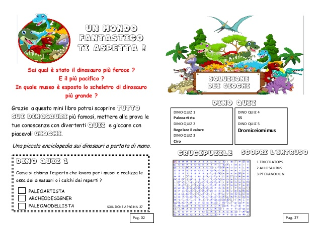 Popolare Schede didattiche sui dinosauri. Libro da costruire con giochi, notiz… IB09