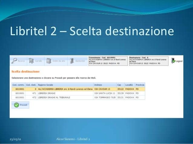 Libritel 2 – Scelta destinazione23/03/12 Alcor Sistemi - Libritel 2