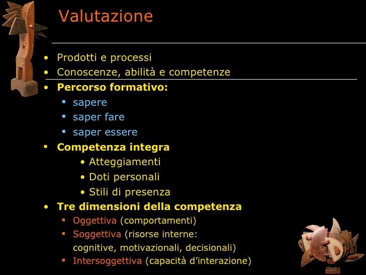 Valutazione  • Prodotti e processi • Conoscenze, abilità e competenze • Percorso formativo:     sapere     saper fare   ...