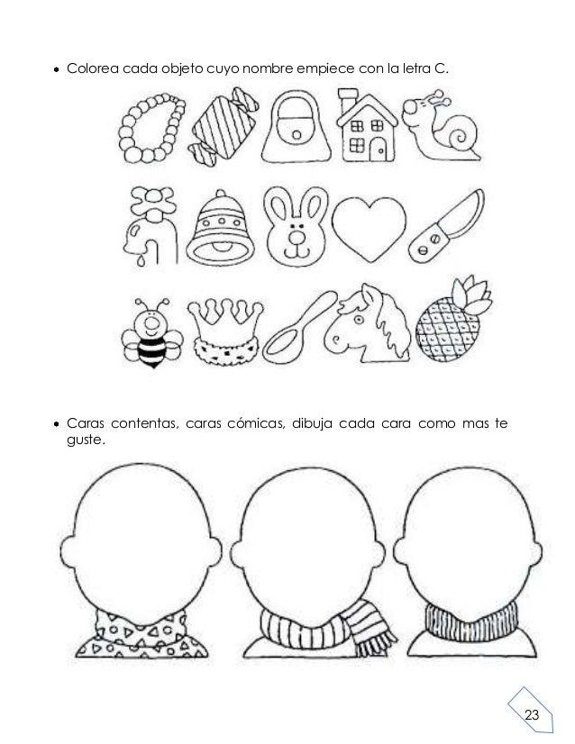 23Colorea cada objeto cuyo nombre empiece con la letra C.Caras contentas, caras cómicas, dibuja cada cara como mas teguste.