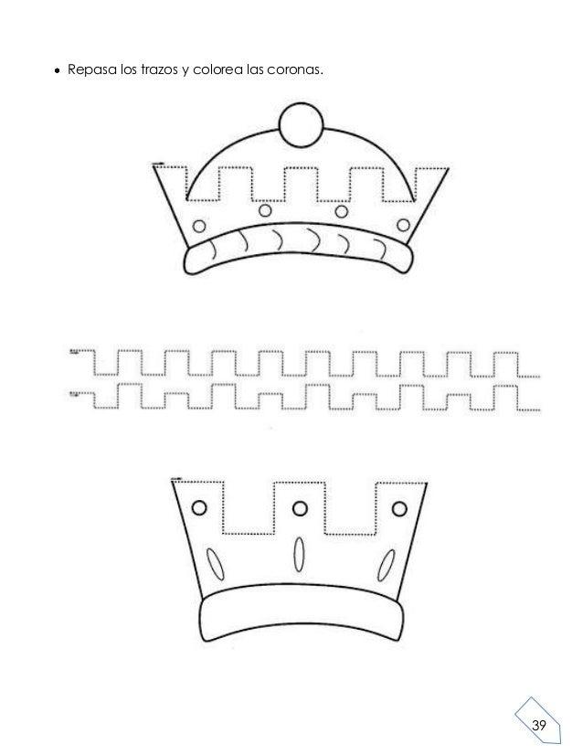 39Repasa los trazos y colorea las coronas.