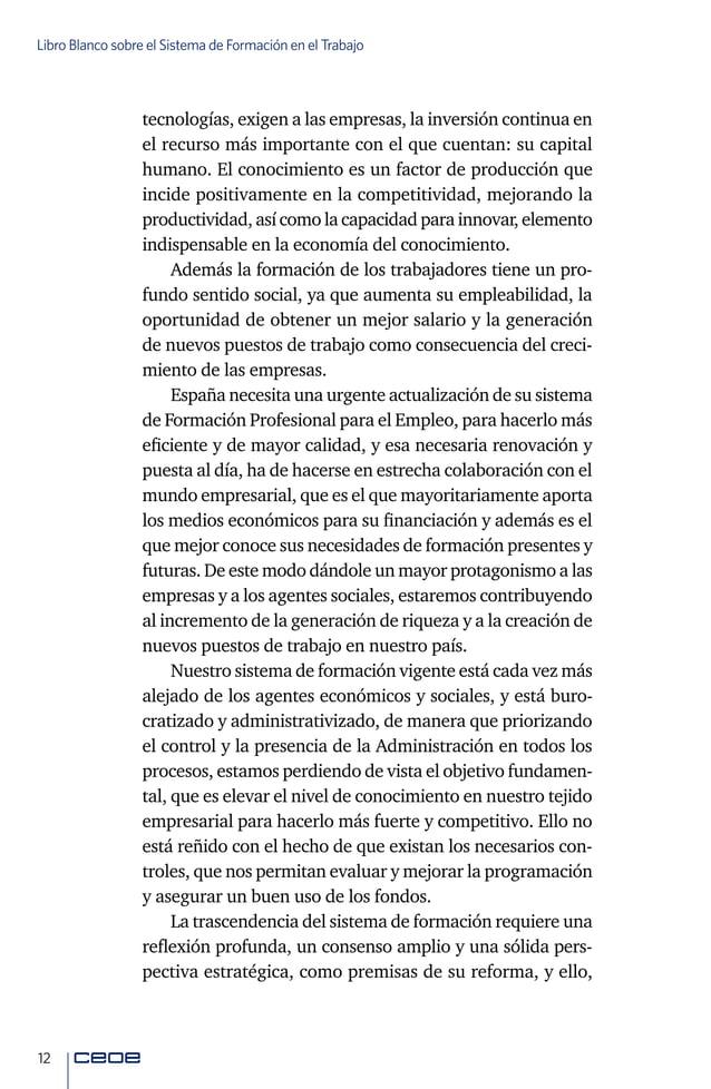 14 Libro Blanco sobre el Sistema de Formación en el Trabajo