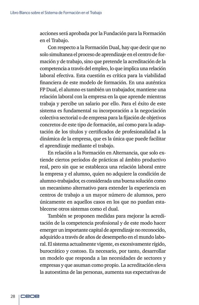 30 Libro Blanco sobre el Sistema de Formación en el Trabajo
