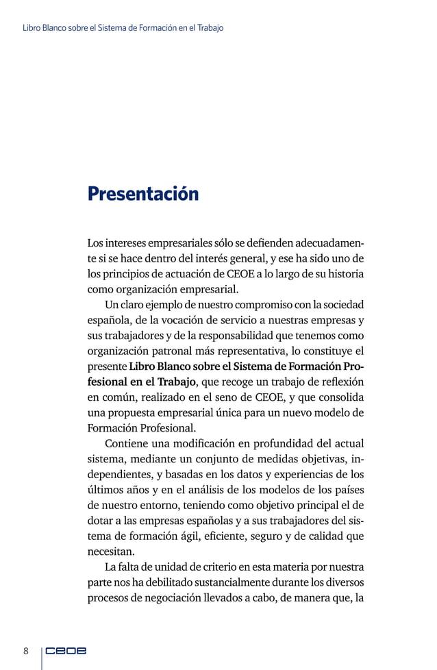 10 Libro Blanco sobre el Sistema de Formación en el Trabajo