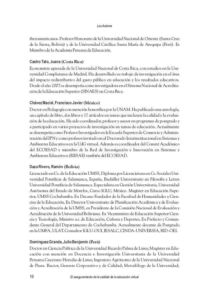 Libro: La calidad de la educación virtual - virtual educa. Editores: …