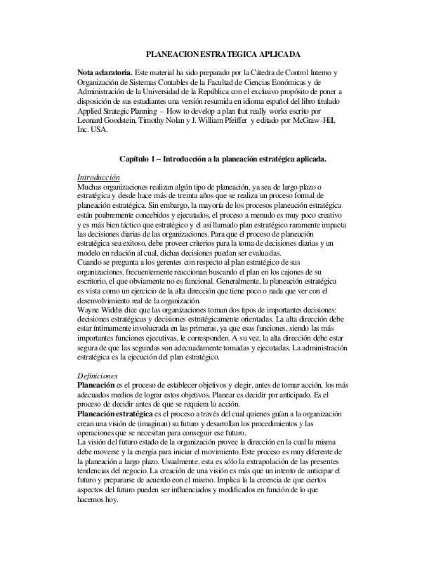 PLANEACION ESTRATEGICA APLICADA Nota aclaratoria. Este material ha sido preparado por la Cátedra de Control Interno y Orga...