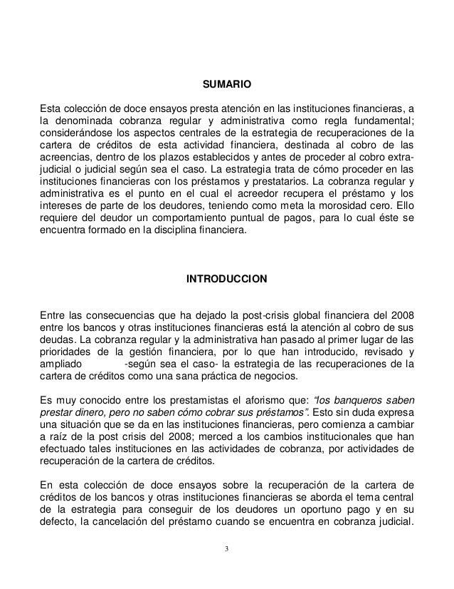 SUMARIO Esta colección de doce ensayos presta atención en las instituciones financieras, a la denominada cobranza regular ...