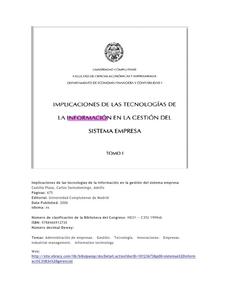 Implicaciones de las tecnologías de la información en la gestión del sistema empresaCastilla Plaza, Carlos Santodomingo, A...