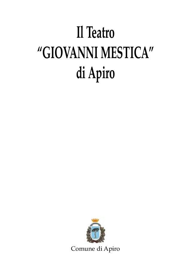 """Il Teatro """"GIOVANNI MESTICA"""" di Apiro  Comune di Apiro"""