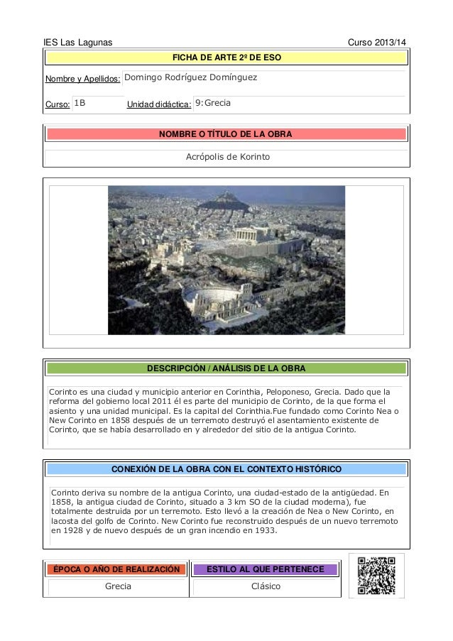 IES Las Lagunas Curso 2013/14 FICHA DE ARTE 1º DE ESO Nombre y Apellidos: Curso: Unidad didáctica: NOMBRE O TÍTULO DE LA O...